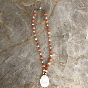 Pearl and coral cameo necklace